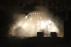 Music stage. With fog and white lights Royalty Free Stock Image