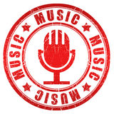 Music stamp. Music red stamp isolated on white Stock Photos