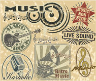 Music stamps set Stock Photos