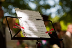 Music stand. With piano notes Stock Images