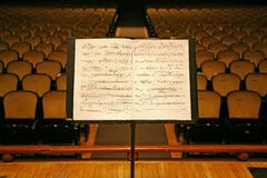 Music stand. And chairs in a theater,auditorium or opera Stock Images