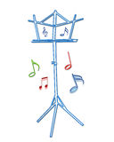 Music stand. Music notes stand in isolated background vector illustration