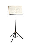 Music stand with piano notes isolated Stock Photo
