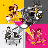 Music Star Idols. An Illustration Of Music Star Idols Singing And Performance Rock, Jazz, Hip Hop And Folk Music Royalty Free Stock Photography