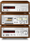 Music Stereo Audio Compact Cassette Deck with Amplifier and CD p vector illustration