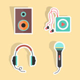 Music stickers with shadow. Isolated on stylish background. flat design modern vector illustration Stock Image