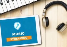 Music Streaming Application icon on tablet Stock Photography
