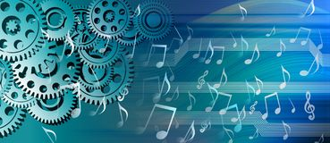 Music streaming cogs technology background. vector illustration. Many uses for advertising, book page, paintings, printing, mobile backgrounds, book, covers royalty free illustration