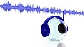 Music streaming concept. Headphone listening to music stream vector illustration