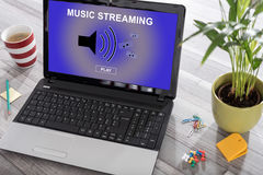 Music streaming concept on a laptop Stock Images