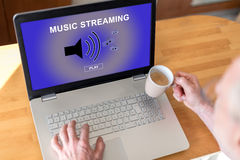 Music streaming concept on a laptop Royalty Free Stock Photo