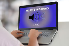 Music streaming concept on a laptop Royalty Free Stock Image