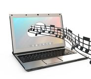 Music streaming concept. Music popping out from computer over white background, 3d rendering royalty free illustration