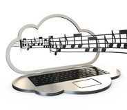 Music streaming concept. Music popping out from computer shaped as a cloud over white background, 3d rendering stock illustration