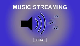Music streaming concept. With sound icon stock illustration