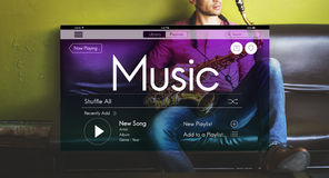 Music Streaming Instrumental Playlist Podcast Concept Stock Photography