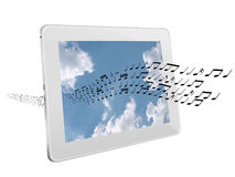Music streaming from the internet - concept isolated over white Royalty Free Stock Images
