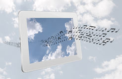 Music streaming from the internet - concept isolated over white. Or radio over the airwaves.... Generic tablet over sky background stock illustration