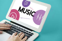 Music Streaming Media Entertainment Equalizer. Closeup Human Hands Using Laptop Music Streaming Media Entertainment Equalizer Stock Images
