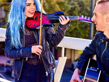 Music street performers with girl violinist Royalty Free Stock Photography