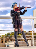 Music street performers with girl violinist Royalty Free Stock Photos