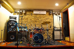 Music studio. With drums and amplifiers Royalty Free Stock Images