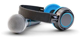 Music Studio Audio Recording And Live Stream Broadcasting Concept Stock Images