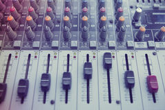 Music Studio. Buttons equipment for sound mixer control Stock Photo
