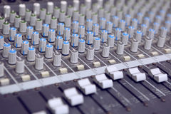 Music Studio. Buttons equipment for sound mixer control Royalty Free Stock Images