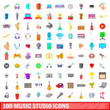 100 music studio icons set, cartoon style Royalty Free Stock Images