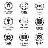 Music studio logos with wreaths vintage vector set. Hipster and retro style. Royalty Free Stock Photography