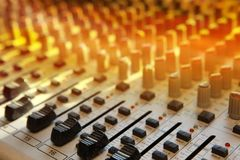 Music studio mix console Royalty Free Stock Images