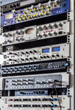 Music studio rack. With recording equipment Royalty Free Stock Images