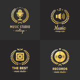 Music studio and radio gold logo vintage vector set. Part four. Music studio and radio gold logo vintage vector set. Hipster and retro style. Part four Royalty Free Stock Photo