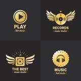 Music studio and radio gold logo vintage vector set. Part two. Stock Photo