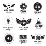 Music studio and radio logos vintage vector set. Hipster and retro style. Perfect for your business design