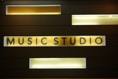 Music studio room. In the school royalty free stock photography