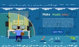 Music studio website template blue tone vector illustration eps10. Music studio website template blue tone vector illustration stock illustration