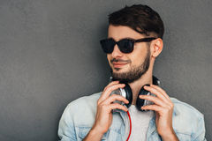 Music and style are his passion. Royalty Free Stock Photo