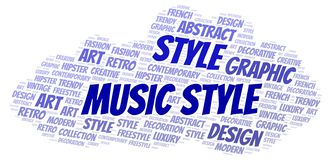 Music Style word cloud. Wordcloud made with text only stock illustration