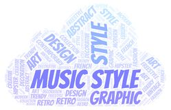 Music Style word cloud. Wordcloud made with text only vector illustration