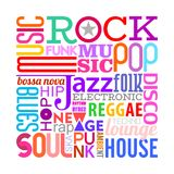 Music Styles text design Royalty Free Stock Images