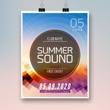 Music summer party poster graphic design. Disco dance flyer or poster template. Summer sound party event royalty free illustration