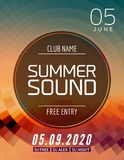 Music summer party poster graphic design. Disco dance flyer or poster template. Summer sound party event.  stock illustration