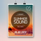 Music summer party poster graphic design. Disco dance flyer or poster template. Summer sound party event.  royalty free illustration