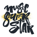 Music super star.Hand drawn lettering phrase on star texture bac Royalty Free Stock Photo