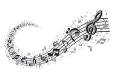 Music Swirl. Background design in grey colors Stock Images
