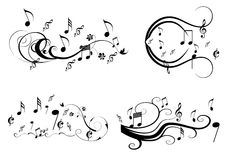Music swirl. Music notes on swirl shaped staves stock illustration