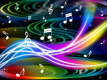 Music Swirls Background Shows Flourescent Musical And Tune Royalty Free Stock Photography