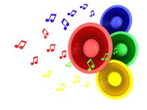 Music symbol. Abstract 3d illustration of colorful speakers and music signs over white background Royalty Free Stock Photo